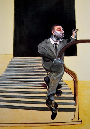 Copia de retrat d´un home baixant una escala. 1972